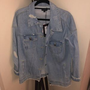 Light Wash Distressed Oversized Denim Jacket